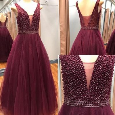 Beaded V-Neck Pearls A-Line Luxury Sleeveless Prom Dresses_2