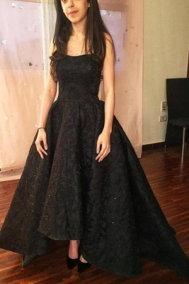Black High-Low Prom Dresses | Sparkly Puffy Sleeveless Evening Gowns_2