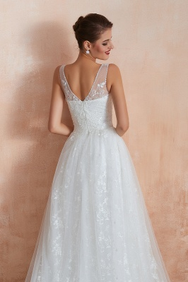 Floor Length Straps V-neck Sexy A-line Lace Tulle Wedding Dresses_8