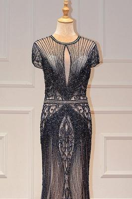 Luxury Cap Sleeves Keyhole Rhinestones Mermaid Prom Dresses | Gorgeous Beaded Evening Dress_23