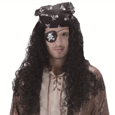 Long Wavy Caribbean Buccaneer Costume Wig Standard