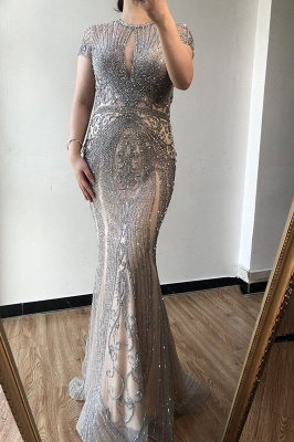 Luxury Cap Sleeves Keyhole Rhinestones Mermaid Prom Dresses | Gorgeous Beaded Evening Dress_11