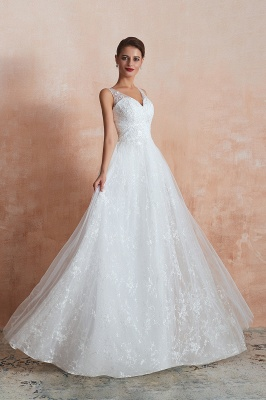 Floor Length Straps V-neck Sexy A-line Lace Tulle Wedding Dresses_7