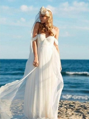 Simple Casual Off-the-Shoulder Ruffled Chiffon Beach Wedding Dresses_2