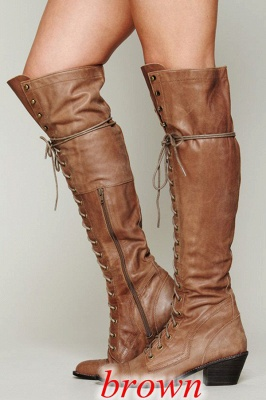 Chic Brown Knee High Women's Boots_1