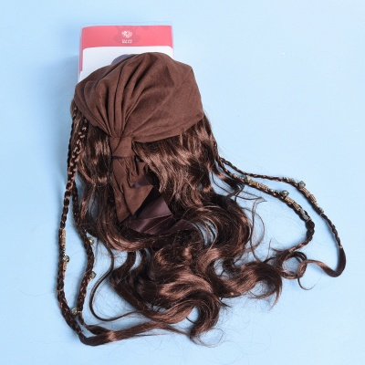 Black Long Straight Bandana Cosplay Synthetic Wigs for Women_4