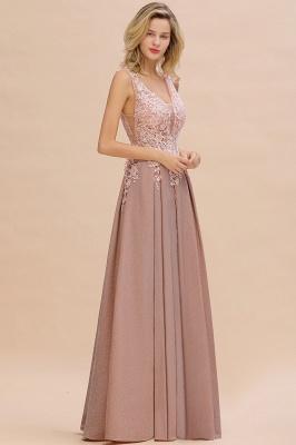 Elegant Sleeveless V-neck Floor Length Appliques Prom Dresses | Cheap Backless Evening Dresses_10