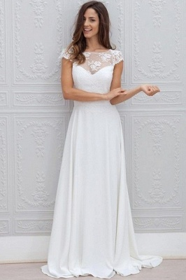 Short-Sleeves Chic Sweep Train Backless White A-line Wedding Dress_2