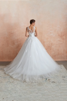 Floor Length Bateau Sleeveless Buttons Lace Tulle Puffy Wedding Dresses_8