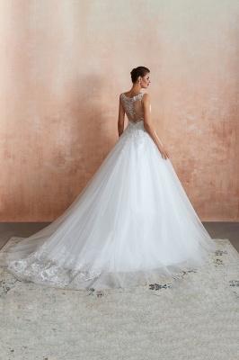 Floor Length V-neck Straps Cheap A-line Lace Tulle Wedding Dresses_3