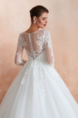 Floor Length Crew A-line Lace Tulle Wedding Dresses with Long Sleeves_8
