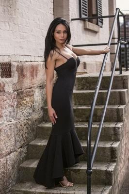 Sweetheart High-Low Spaghetti Mermaid Black Straps Women Dress_2
