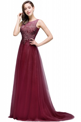 Cheap A-line Court Train Tulle Evening Dress with Appliques in Stock_5