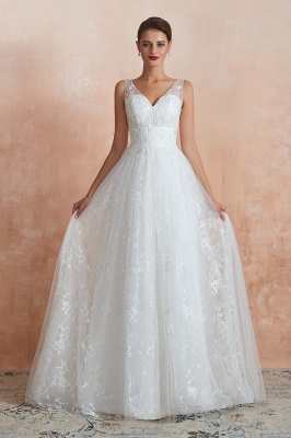Floor Length Straps V-neck Sexy A-line Lace Tulle Wedding Dresses_4