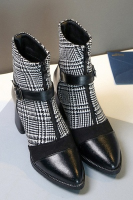 Daily Zipper Pointed Toe Buckle Chunky Boots On Sale_4
