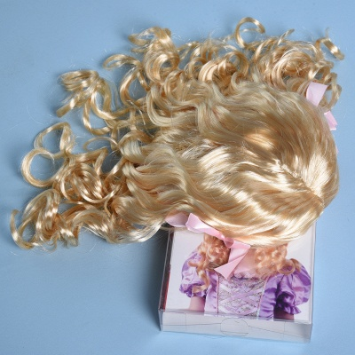 Gold Long Wavy Curly Cosplay Wigs with Bowknot for Girl_6