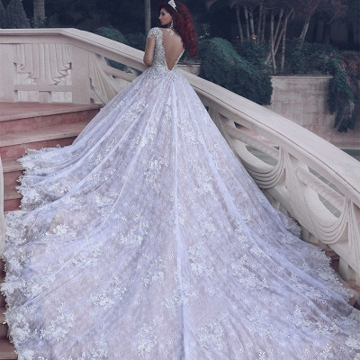 Cathedral-Train Classic Muslim Crystal Beading Lace Charming Wedding Dress_3