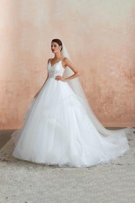 Spaghetti Straps V-neck Lace Organza Tiered A-line Sexy Wedding Dresses_3