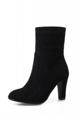 Chunky Heel Working Suede Square Boots On Sale_3