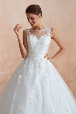 Floor Length Bateau Sleeveless Buttons Lace Tulle Puffy Wedding Dresses_10
