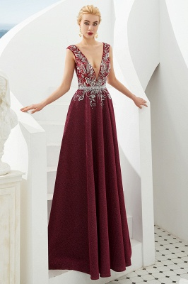 Straps Deep V-neck Beaded Sexy Long Prom Dresses | Elegant Floor Length Evening Dresses_11