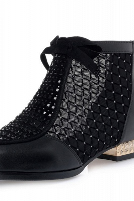 Black Chunky Heel Bowknot Casual Mesh Boots On Sale_3