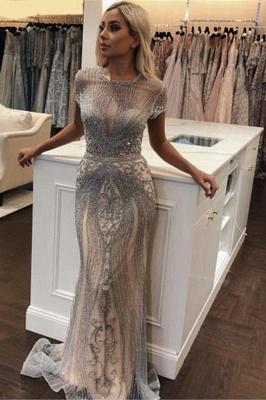 Luxury Cap Sleeves Keyhole Rhinestones Mermaid Prom Dresses | Gorgeous Beaded Evening Dress_4