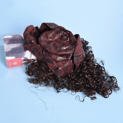 Copper Red Long Wavy Curly Pirates Synthetic Wigs_5