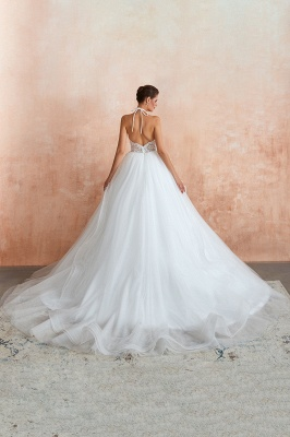Halter Backless Sexy Cheap Ball Gown Wedding Dresses | Affordable Tulle Bridal Gowns_7