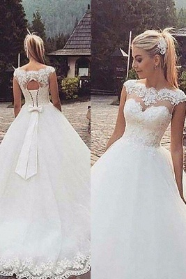 Tulle Puffy Bateau Lace Sleeveless Wedding Dresses_2