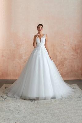Floor Length V-neck Straps Cheap A-line Lace Tulle Wedding Dresses_4
