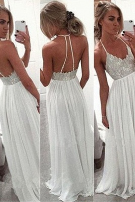 A-Line Lace  Open-Back Spaghetti-Strap Summer White Long Prom Dress_2