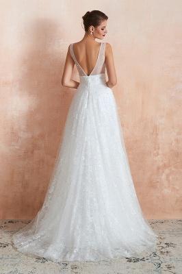 Floor Length Straps V-neck Backless A-line Wedding Dresses | Cheap Tulle Bridal Gowns_6