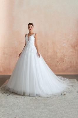 Floor Length V-neck Straps Cheap A-line Lace Tulle Wedding Dresses_6