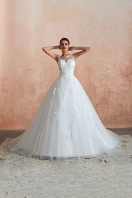 Floor Length Bateau Sleeveless Buttons Lace Tulle Puffy Wedding Dresses_11