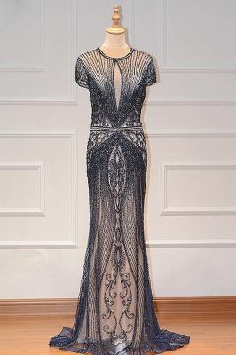 Luxury Cap Sleeves Keyhole Rhinestones Mermaid Prom Dresses | Gorgeous Beaded Evening Dress_3