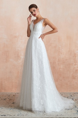 Floor Length Straps V-neck Backless A-line Wedding Dresses   Cheap Tulle Bridal Gowns_11