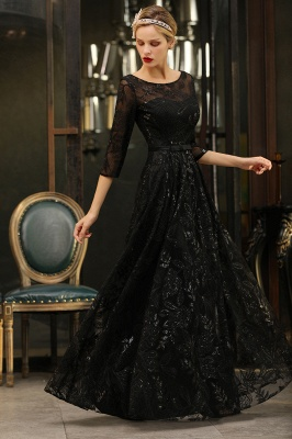 A-line Round Neckline Sexy Lace Prom Dresses | Black Evening Dresses_8