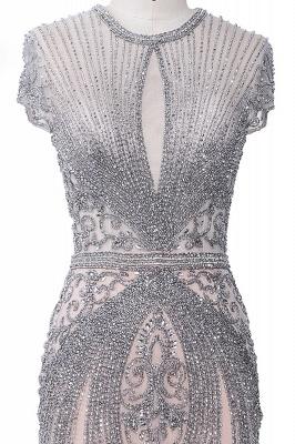 Luxury Cap Sleeves Keyhole Rhinestones Mermaid Prom Dresses | Gorgeous Beaded Evening Dress_33