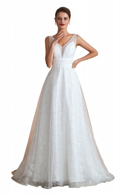 Floor Length Straps V-neck Backless A-line Wedding Dresses   Cheap Tulle Bridal Gowns_1