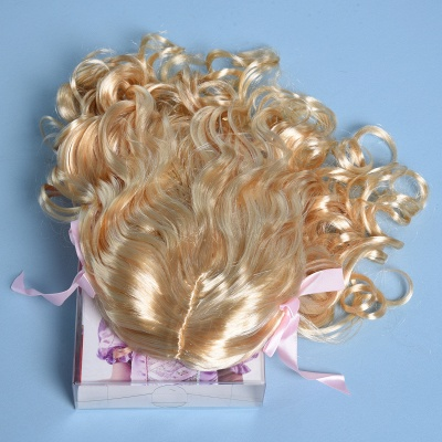 Gold Long Wavy Curly Cosplay Wigs with Bowknot for Girl_5