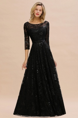 A-line Round Neckline Sexy Lace Prom Dresses | Black Evening Dresses_7