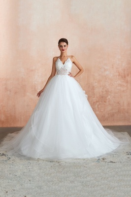 Halter Backless Sexy Cheap Ball Gown Wedding Dresses | Affordable Tulle Bridal Gowns_2