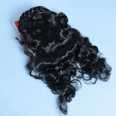 Black Long Wavy Curly Cosplay Wigs for Girl_5