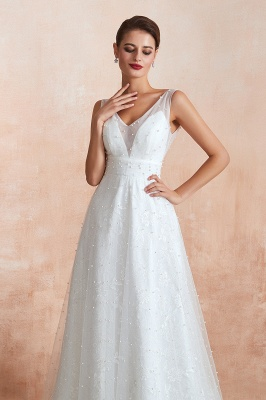 Floor Length Straps V-neck Backless A-line Wedding Dresses   Cheap Tulle Bridal Gowns_7