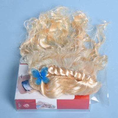 Gold Long Wavy Realistic Synthetic Hair Wig_4