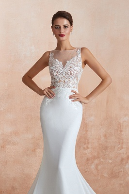 Sweep Train Crew Form-fitting Lace Wedding Dresses |Sleeveless Sheath Bridal Gown_8