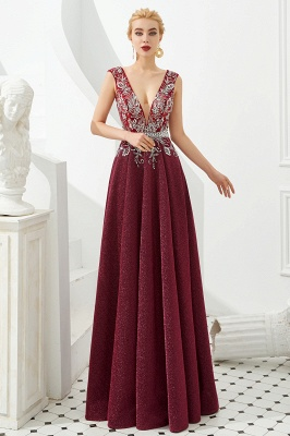 Straps Deep V-neck Beaded Sexy Long Prom Dresses | Elegant Floor Length Evening Dresses_4