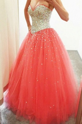 Crystals Cheap Puffy Sparkly 2019 Sweetheart  Quinceanera Dresses_2