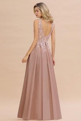 Elegant Sleeveless V-neck Floor Length Appliques Prom Dresses | Cheap Backless Evening Dresses_19
